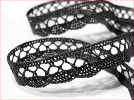 koronka bawełniana 18 mm czarna