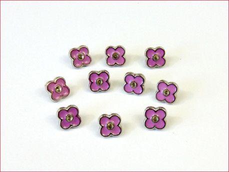 guziki kwiatki różowe