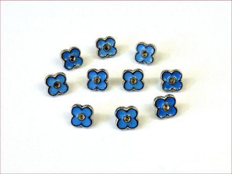 guziki kwiatki niebieskie