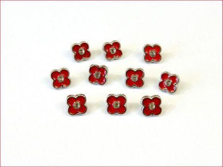 guziki kwiatki czerwone