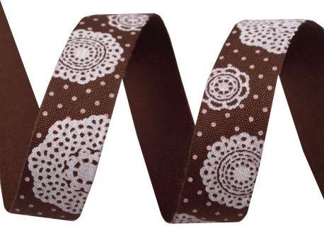 wstążka bawełniana wzór brązowy