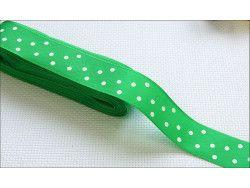 wstążka taftowa w grochy zielona