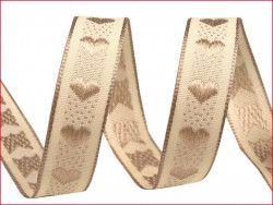 wstążka żakardowa z drutem-serca beżowe