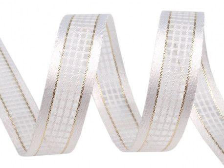 wstążka w kratkę z lureksem biała