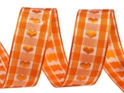 wstążka żakardowa z drutem-serca pomarańczowe