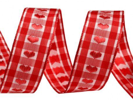 wstążka żakardowa z drutem-serca czerwone