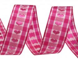 wstążka żakardowa z drutem-serca różowe