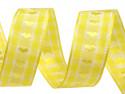 wstążka żakardowa z drutem-serca żółte