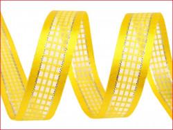 wstążka w kratkę z lureksem żółta