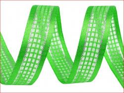wstążka w kratkę z lureksem zielona