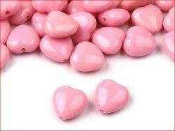 koraliki serduszka różowe 5 sztuk