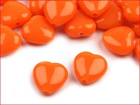 koraliki serduszka pomarańczowe