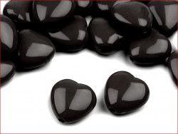 koraliki serduszka czarne