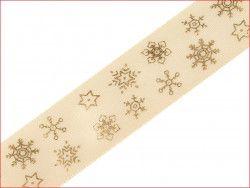 wstążka satynowa 25mm śnieżynki