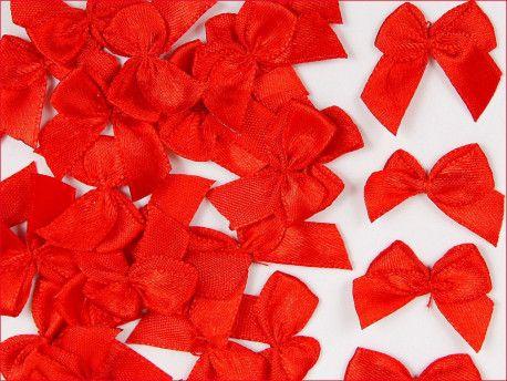 Kokardki satynowe czerwone duże