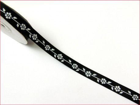 wstążka rypsowa kwiaty czarna