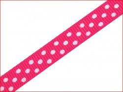 wstążka rypsowa w kropki różowa