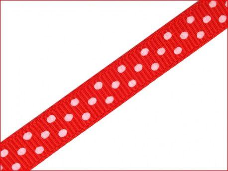 wstążka rypsowa w kropki czerwona