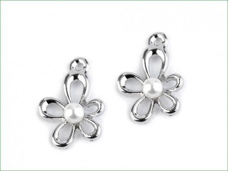 zawieszka metalowa kwiatek z perełką