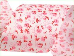 wstążka ozdobna kwiatki różowa 50 mm