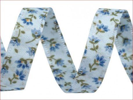 wstążka dwustronna kwiaty niebieska