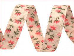 wstążka dwustronna kwiaty różowe