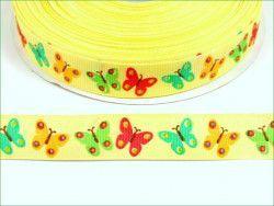 wstążka rypsowa kolorowe motyle