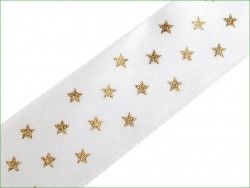 wstążka satynowa 25mm gwiazdki