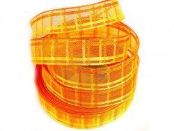 wstążka ozdobna z drutem kratka pomarańczowa