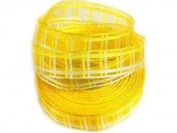 wstążka ozdobna z drutem kratka żółta