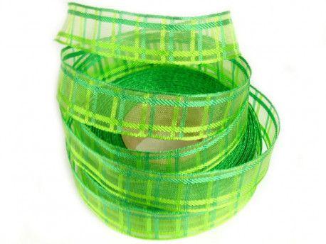 wstążka ozdobna z drutem kratka zielona