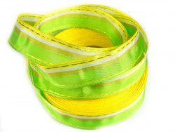 wstążka ozdobna z drutem paski zielona