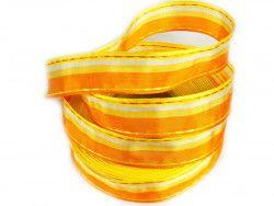 wstążka ozdobna z drutem paski pomarańczowa
