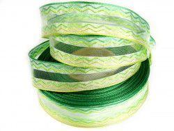 wstążka ozdobna z drutem fala zielona