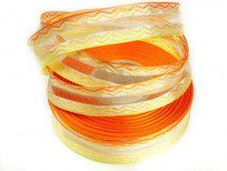 wstążka ozdobna z drutem fala żółto-pomarańczowa