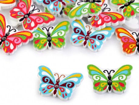 Guzik drewniany motylek - 3 sztuki