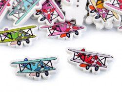 Guzik drewniany samolot - 3 sztuki