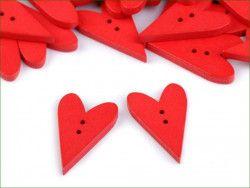 Guzik drewniany serce czerwone