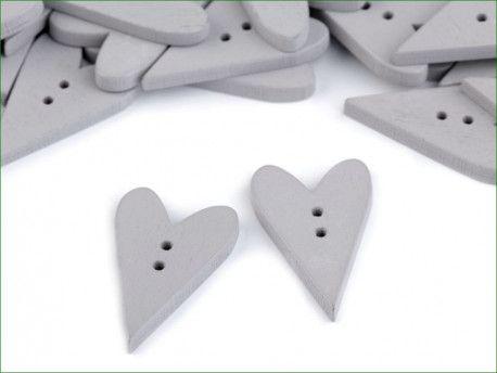 Guzik drewniany serce szare