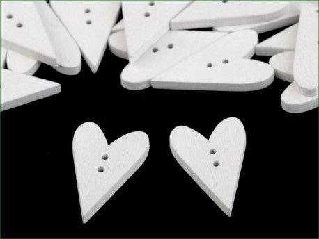 Guzik drewniany serce białe