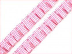 taśma z falbanką różowa kratka