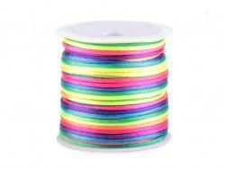 sznurek satynowy 2 mm kolorowy tęczowy szpula100m
