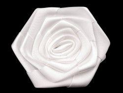 róża satynowa 7 cm biała