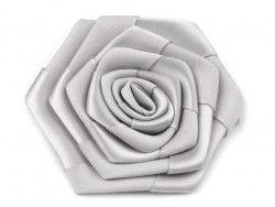 róża satynowa 7 cm szara/srebrna