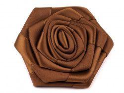 róża satynowa 7 cm złocisty brąz