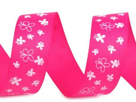 wstążka rypsowa motyle różowa