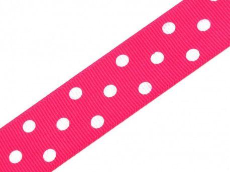 wstążka rypsowa 24 w kropki różowa