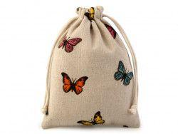 woreczek lniany motyle