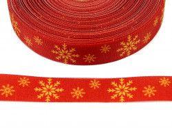 wstążka rypsowa śnieżynki czerwona