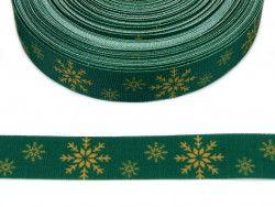 wstążka rypsowa śnieżynki zielona